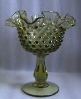 Vintage FENTON Olive GREEN GLASS HOBNAIL RUFFLED FOOTED Pedestal CANDY BOWL!