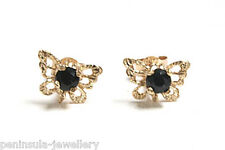 9ct Gold Sapphire Filigree Butterfly stud Earrings Gift Boxed Studs Made in UK