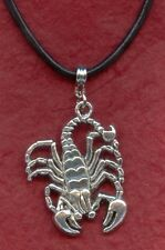 Scorpion Necklace incl Leather long 55cm large charm pendant