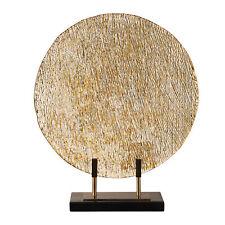 Elegant Bronze Gold Modern Art Glass Charger Stand | Flat Plate Disc Metallic
