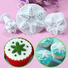 3Pc Snowflake Cake Decorating Fondant Plunger Cutters Mold Form Decor Baking Kit