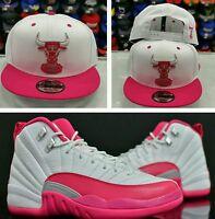 Matching NBA New Era Chicago Bulls  snapback Hat for Jordan 12 Vivid Pink