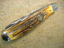 Vintage Schrade + USA Trapper Knife flawless India Sambar Stag NKCA  1982