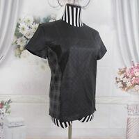 Evleo Faux Leather Short Sleeve Black Top Size M