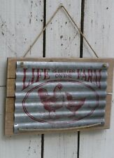 Primitive country wooden sign LIFE IS BETTER ON THE FARM rooster & Chicken