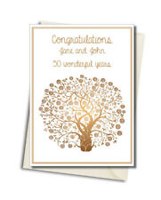 Personalised Handmade Golden Tree 50th Anniversary Card