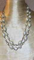 VTG Open Bezel Lucite Necklace Multi Collar Pearl