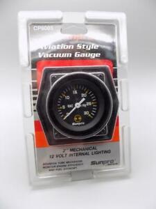 Sunpro 2 Inch Mechanical Vacuum Gauge New Black / Black Bezel CP8085 Actron NOS