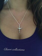 "925 Sterling Silver Women's Crucifix Catholic  Cross Pendant Necklace 18"" N5"