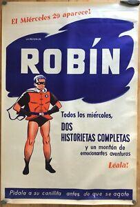 RARE ADVERTISING ORIGINAL POSTER ROBIN BATMAN ARGENTINA MUCHNIK 1950
