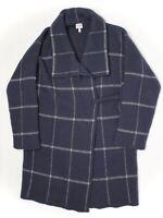 Armani Collezioni Womens Knit Sweater Coat 4 Navy Blue Windowpane Plaid Italy