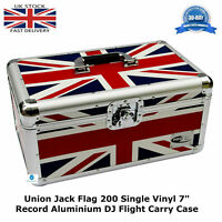 "1 NEO UNION JACK Storage DJ Flight Carry Case for 200 Singles 45 vinyl 7"" Record"