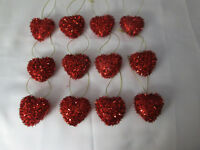 "Pkg of 12- Miniature 1-3/4"" Red Tinsel Heart Valentines Day Ornaments NEW"