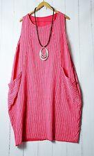 ITALY Kleid Ballonkleid 36 38 40 42 Pink  Lagenlook Taschen  Boho/Hippie Neu