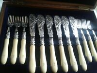 Exquisite Antique Fish Knives Forks Cutlery Set Cased Key Circa 1890