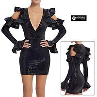 Vestito Donna Mini Paillettes Feste Capodanno Discoteca Party 80's Dress 110436