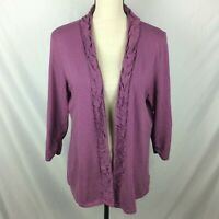 Coldwater Creek Womens Cardigan Sweater L Purple Ruched Open Front Jersey Knit