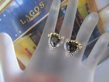 Lagos Smoky Quartz Sterling Silver & 18K Yellow Gold Earrings