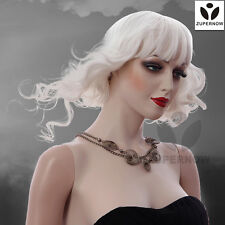 【Sale】Medium Long Wave Women Wig White Color Female Wigs Synthetic Japanese Hair