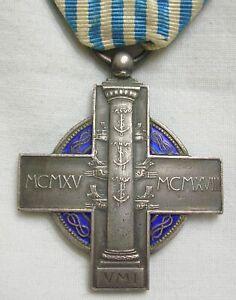 WW1 MEDAGLIA CROCE REGIA MARINA 1915 1918 UNIONE MARINARA ITALIANA SMALTATA