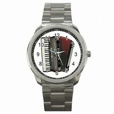 Accordion Vintage Music Player Beautiful Stainless Steel Watch
