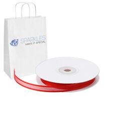 "Organza Ribbon 3/8"" Wide 25 Yd Yard Roll - Red - Satin Edging Solid Reels kw"