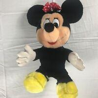 "Disney Minnie Mouse Plush VTG 14"" Stuffed Polka Dot Bow Land World Felt Tongue"