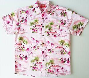 Hawaiian Shirt Men's Size XL Short Sleeve Novelty Bright Tropical Pink Flamingos