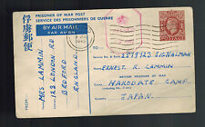 1945 London England Postcard Cover to Prisoner of War POW Hakodate Camp Japan