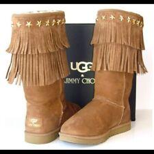RARE Jimmy Choo Tan Studded Ugg Sora Fringed Boots Size UK 5.5 EU 38 US 7 $700