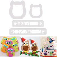 Diy 4Pcs Owl Cake Cookies Cutter Fondant Icing Sugarcraft Decorating Mould Tools