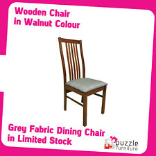 Wooden Dining Chair in walnut with grey fabric seat - Brand New pre-assembled
