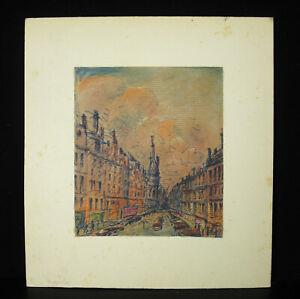 R J Martin ? Rue de Paris Drawing Original c1970 Felt And Pastel