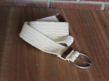 American Eagle Braided Web Belt Ivory Large XL Leather Ends Nickle Buckle Unisex