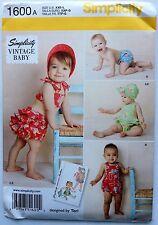 Simplicity Pattern 1600  Baby Infant Vintage Romper Bikini Bonnet Sizes XXs - L