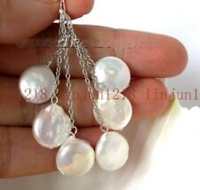Natural 11-13mm White freshwater Coin Pearl 925 Silver Hook Earring