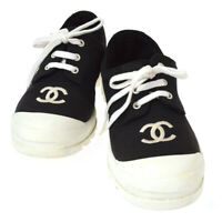 CHANEL CC Logos Bi-color Sneakers Shoes Black White Canvas #37 Vintage GS02418
