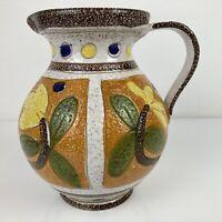 Vintage Italian Mid Century Hand Painted Textured Pottery Jug Fratelli  VGC