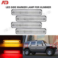 For Hummer H2 2003-2009 LED Side Marker Light Clear Lens Amber Red 4PCS 25952319