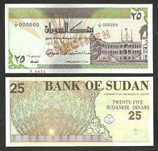Sudan 25 Dinars 1992 , UNC , P-53s , Type B , Specimen