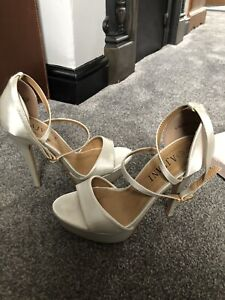 Ivory Satin Size 4 Wedding Occasion Heel Shoes