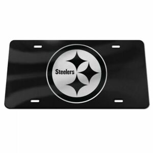 PITTSBURGH STEELERS BLACK AND SILVER CRYSTAL MIRRORED CAR LICENSE PLATE NFL