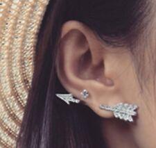 1 x Arrow Crystal Ear Cuff Stud Earrings Climber Ear Rings Silver Colour ECF15