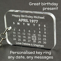 Personalised Calendar Keyring Birthday Wedding Gift, Anniversary Present Wife
