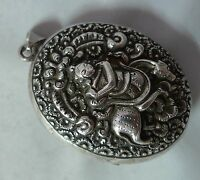 Large Antique Indian Silver Locket 58g A6111