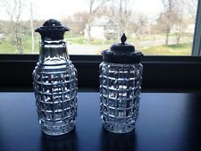 Antique English Cut Glass Salt/Pepper Shakers With Sterling Tops