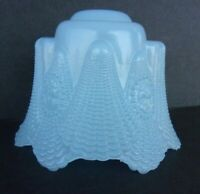 Vintage Small Baby Blue Scalloped Glass Clip on Bulb Cameo Lamp Shade