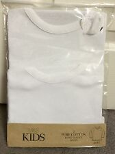 M&S PACK OF 2 PURE COTTON LONG SLEEVE VESTS - AGE 18-24m BNWT