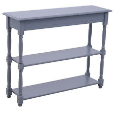 Wood Console Table 2-Tier Accent Table Hallway Grey