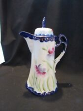 "Vintage Japan Hand Painted Chocolate Or Coffee Pot Iris Flowers Mint 10"" Tall"